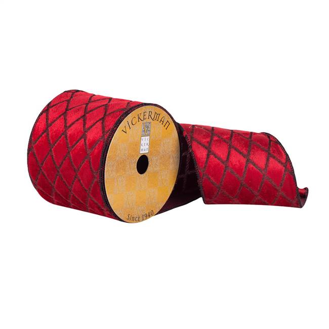 "4""x10Yd Red Soft Woven Net Dupion Ribbon"