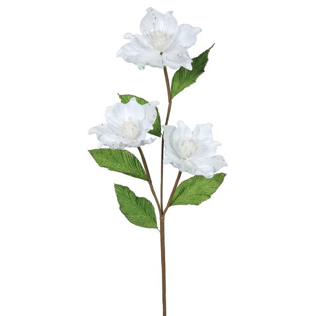 "33"" White Magnolia x3, 4"" Flower, 6/Box"
