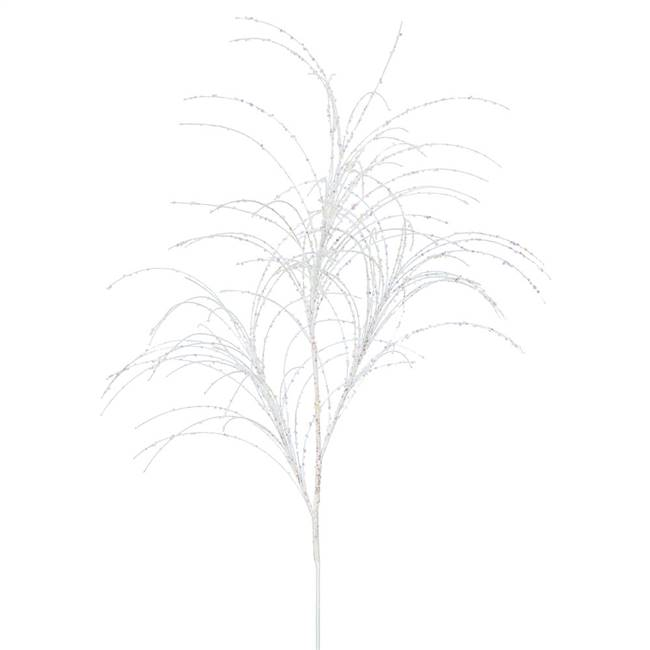 "34"" White Glitter Grass Spray 6/Bag"