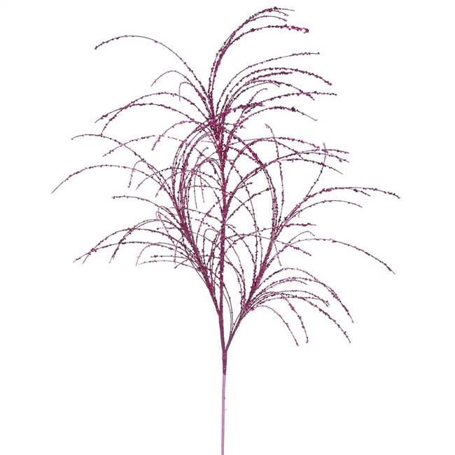 "34"" Cerise Glitter Grass Spray 6/Bag"