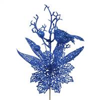 "13"" Blue Poinsettia-Bird Pick 12/Bag"