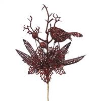 "13"" Burgundy Poinsettia-Bird Pick 12/Bag"