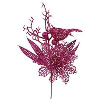 "13"" Cerise Poinsettia-Bird Pick 12/Bag"