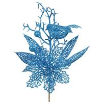 "13"" Turquoise PoinsettiaBird Pick 12/Bag"