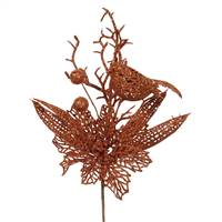"13"" Copper Poinsettia-Bird Pick 12/Bag"