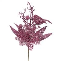 "13"" Mauve Poinsettia-Bird Pick 12/Bag"