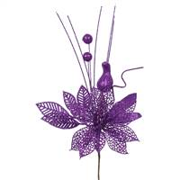 "14"" Purple Poinsettia-Ball Pick 12/Bag"