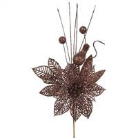 "14"" Mocha Poinsettia-Ball Pick 12/Bag"