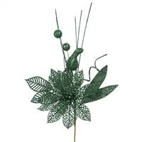 "14"" Emerald Poinsettia-Ball Pick 12/Bag"