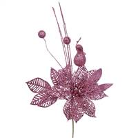 "14"" Mauve Poinsettia-Ball Pick 12/Bag"