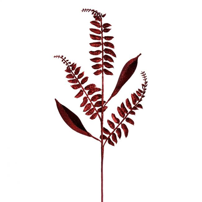 "33"" Burgundy Fern Leaf Spray 6/Bag"