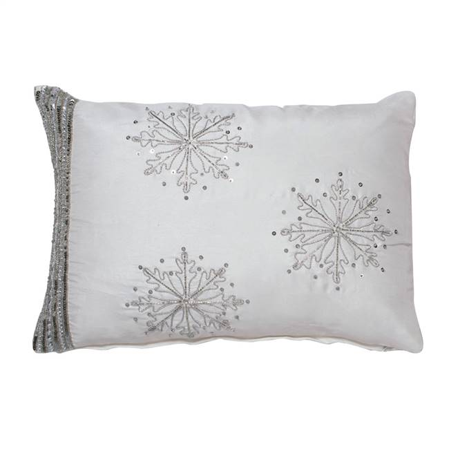 "14"" x 20"" Banded Snowflake Pillow"