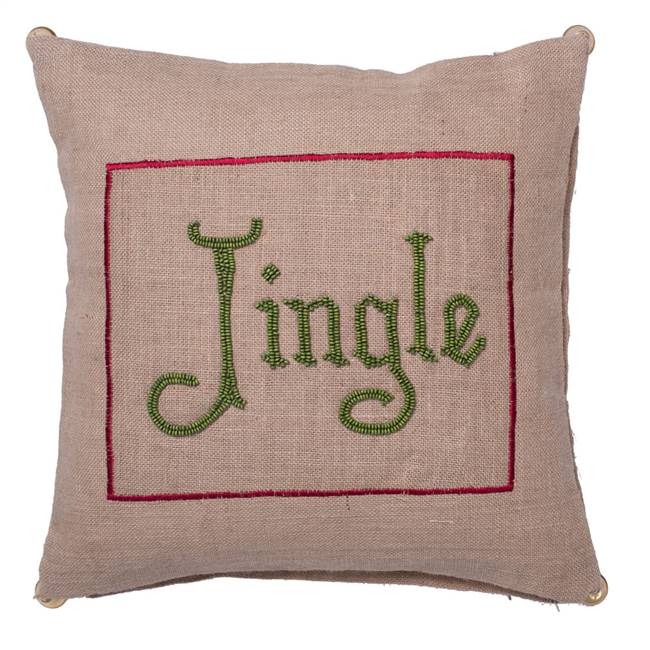 "18"" x 18"" Burlap Jingle Pillow"
