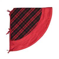 "52"" Red/Black Plaid Treeskirt Red Trim"