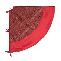 "52"" Red/Gold Plaid Treeskirt Red Trim"