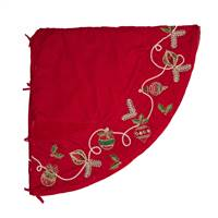 "72"" Red Beaded Ornament Velvet Treeskirt"