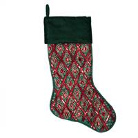 "20"" Green/Red Sequin Pattern Stocking"