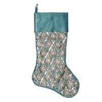 "20"" Turquoise Sequin Pattern Stocking"