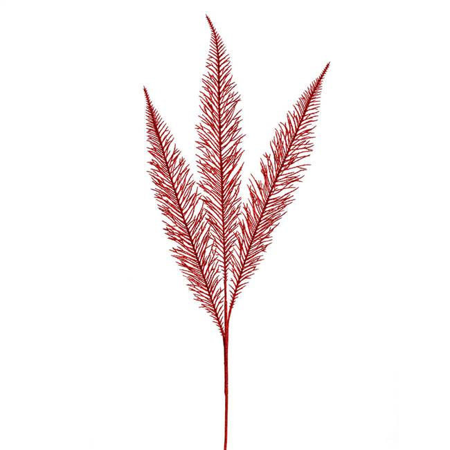 "37"" Red Glitter Fern Spray 2/Bag"