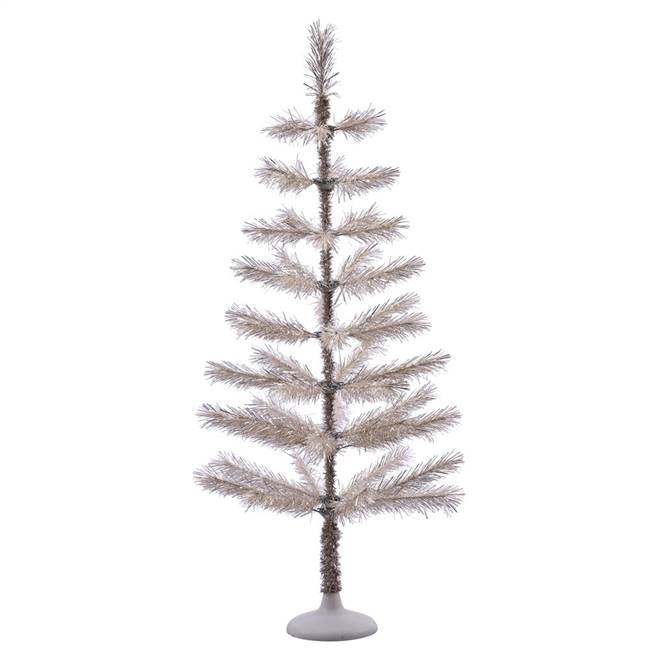 "4' x 20"" Champagne Feather Tree 52Tips"