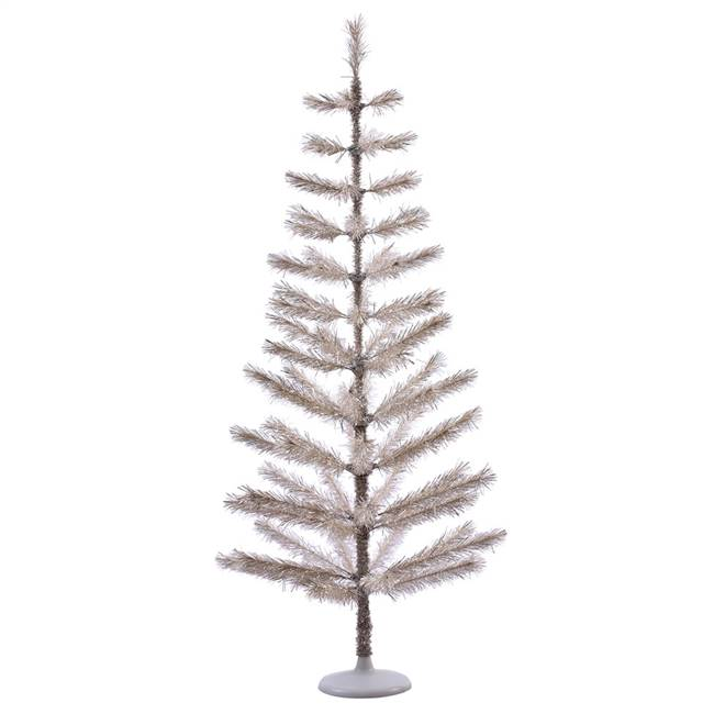 "5' x 24"" Champagne Feather Tree 70Tips"