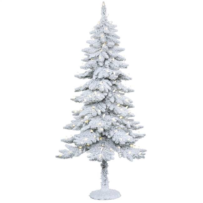 "5' x 28"" Snowy Alpine Tree 150LED WmWht"