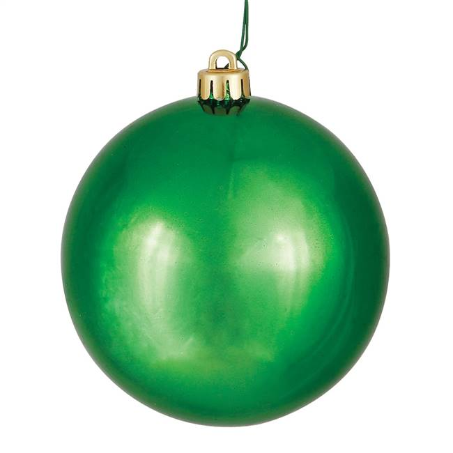 "4"" Green Shiny Ball Drilled 6/Bag"