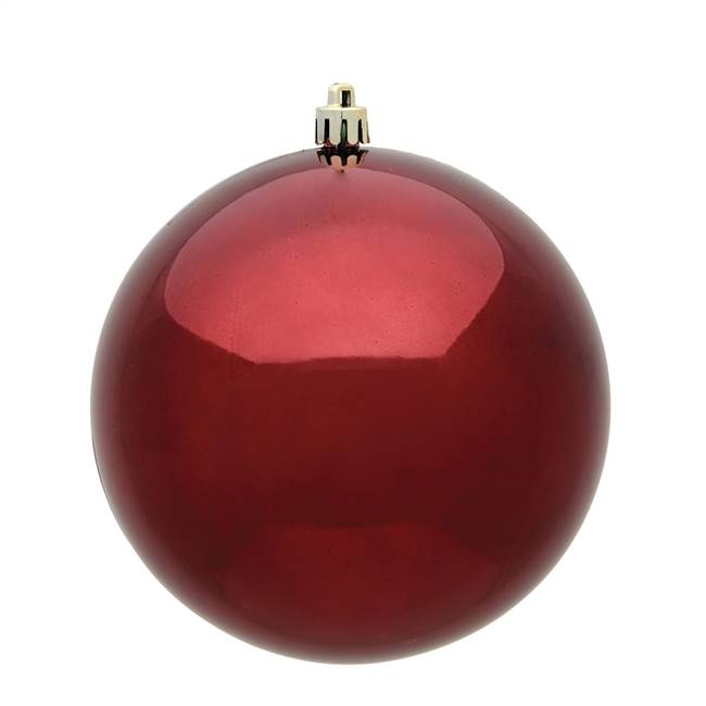 "4"" Burgundy Shiny Ball 6/Bag"
