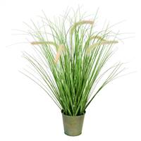 "26"" Green Cattail Grass In Iron Pot"