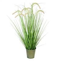 "36"" Green Cattail Grass In Iron Pot"