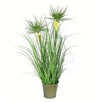 "24"" Green Cyperus Grass In Iron Pot"
