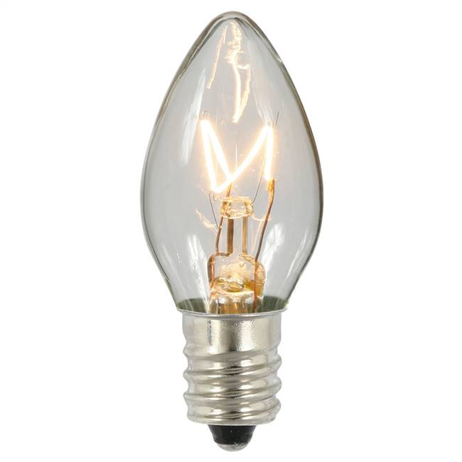 C7 Transparent Clear 130V 5W Bulbs
