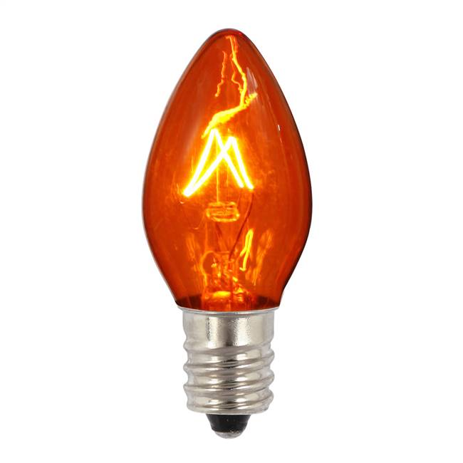 C7 Transparent Amber 130V 5W Bulbs