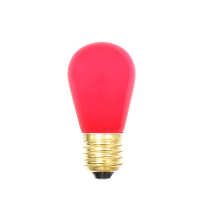 Red Ceramic Med Base 130V 11 Watt Bulbs