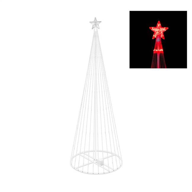 "6' x 28"" LED 200 Red Light Show Tree"