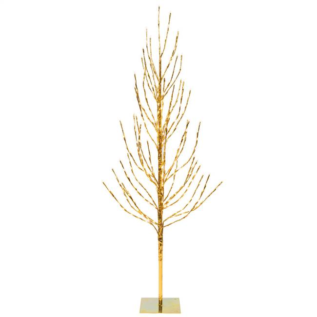 5' Gold Tree LED336 WmWht Flat Base