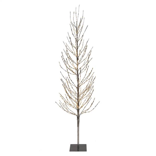5' Silver Tree LED336 WmWht Flat Base