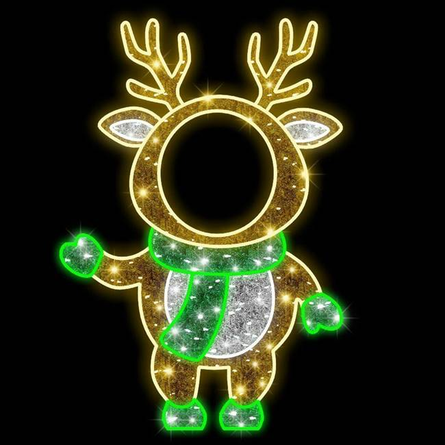 5' LED Green Deer Photo Tinsel Motif