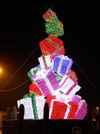 30' LED 3D Tinsel Gift Box Tower