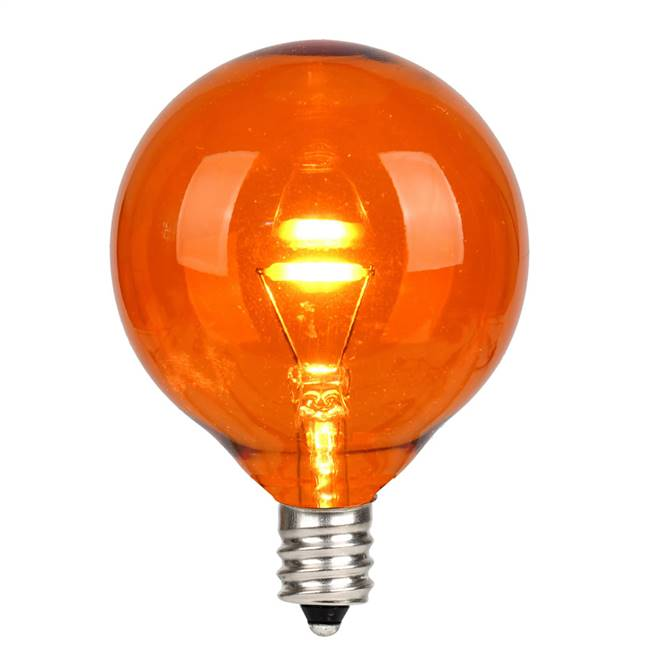 G50 LED Orange Glass Trans E12 Bulb 25Bx