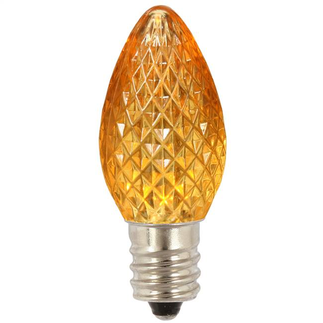 C7 Faceted LED Yellow Bulb .96W
