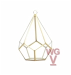 "Geometric Glass Terrarium, Undecahedron Tear drop, Rustic Gold Frame - Width: 5.5"", Height: 8"""