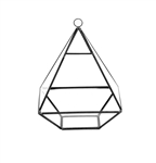 "Geometric Glass Terrarium, Nonahedron Raised Pyramid Shape, Black Frame - Width: 6"", Height: 8"""