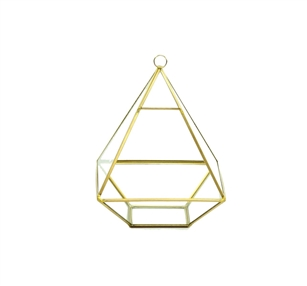 "Geometric Glass Terrarium, Nonahedron Raised Pyramid Shape, Rustic Gold Frame - Width: 6"", Height: 8"""
