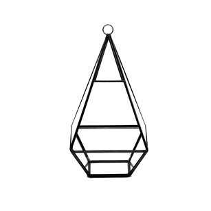 "Geometric Glass Terrarium, Nonahedron Raised Tall Pyramid Shape, Black Frame - Width: 5"", Height: 9.5"""