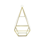 "Geometric Glass Terrarium, Nonahedron Raised Tall Pyramid Shape, Rustic Gold Frame - Width: 5"", Height: 9.5"""