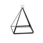 "Geometric Glass Terrarium, Pentahedron Pyramid on Chain, Black Frame - Width: 4.45"", Height: 5.5"" (to the top of ring)"