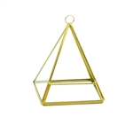 "Geometric Glass Terrarium, Pentahedron Pyramid on Chain, Rustic Gold Frame - Width: 4.25"", Height: 5.5"""