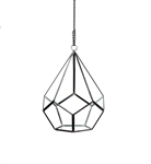 "Geometric Glass Terrarium, Undecahedron Tear Drop, Black Frame - Width: 7"", Height: 8.75"""