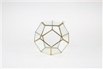 "Geometric Glass Terrarium, Dodecahedron, Gold Frame - Width: 5.5"", Height: 6"""